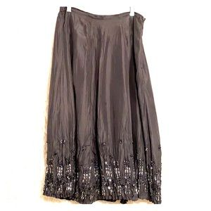 Chico's Silver Gray Silk Crinkled Skirt Size 1